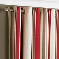 Broadway Raspberry Eyelet Curtains Red, Brown and White