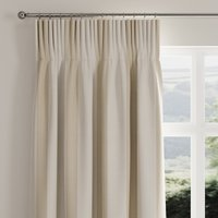 Ribbed Stripe Natural Pencil Pleat Curtains Brown and White