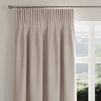 Rope Stripe Natural Pencil Pleat Curtains Brown