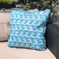 Aruba Blue Water Resistant Outdoor Cushion Blue and White