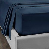 Dorma 300 Thread Count 100% Cotton Sateen Plain Flat Sheet Navy Blue