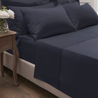 Dorma 300 Thread Count 100% Cotton Sateen Plain Flat Sheet Navy Blue