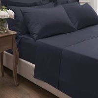 Dorma 300 Thread Count 100% Cotton Sateen Plain Flat Sheet Navy