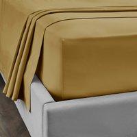 Dorma 300 Thread Count 100% Cotton Sateen Plain Flat Sheet Yellow