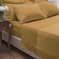 Dorma 300 Thread Count 100% Cotton Sateen Plain Flat Sheet Yellow