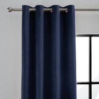 Peyton Indigo Blue Velvet Eyelet Curtains Indigo (Blue)