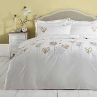 Hydrangea Floral Ochre Embroidered Duvet Cover and Pillowcase Set Yellow, White and Brown