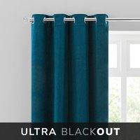 Isla Thermal Blackout Ultra Teal Eyelet Curtains Blue