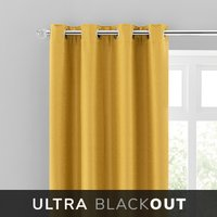 Montreal Thermal Blackout Ultra Ochre Eyelet Curtains Yellow