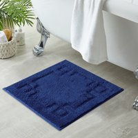 Luxury Cotton Navy Shower Mat Navy (Blue)