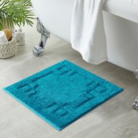 Luxury Cotton Teal Shower Mat Teal (Blue)