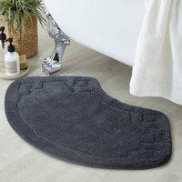 Luxury Cotton Oval Charcoal Bath Mat Charcoal