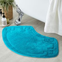 Luxury Cotton Oval Teal Bath Mat Teal (Blue)