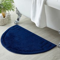 Luxury Cotton Semi Circle Navy Bath Mat Navy (Blue)