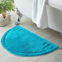 Luxury Cotton Semi Circle Teal Bath Mat Blue