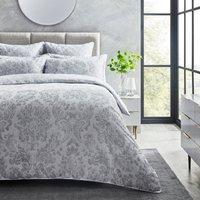 Dorma Orvieto Grey 100% Cotton Duvet Cover and Pillowcase Set Light Grey