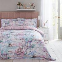 Dorma Tranquil Garden 100% Cotton Duvet Cover and Pillowcase Set Light Pink