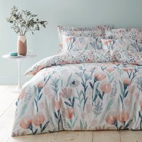 Emmie Pink Floral Reversible Duvet Cover and Pillowcase Set Pink, Green and White