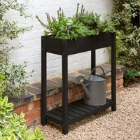 Acacia Wood Black Trough Planter Matt Black