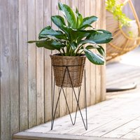 Willow Planter on Metal Stand Brown