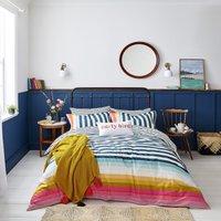 Joules Cambridge Striped 100% Cotton Duvet Cover and Pillowcase Set MultiColoured