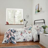 Joules Woodland Floral 100% Cotton Duvet Cover and Pillowcase Set White, Blue and Pink