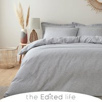 Jett Grey 100% Organic Cotton Double Sided Duvet Cover and Pillowcase Set Grey