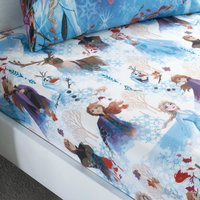 Frozen 2 Multicoloured Fitted Sheet Blue, Red and White