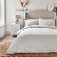 Dorma Purity Silbury Silver Silk Trim Duvet Cover and Pillowcase Set Beige