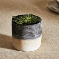 Ceramic Textured Mono Planter 13cm Black and white