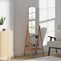 Oak Wooden Full Length Mirror with Shelf Brown