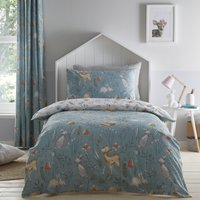 Woodlands 100% Cotton Reversible Single Duvet Cover and Pillowcase Set Blue