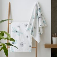 Dragonfly Mint Printed Hand Towel Green and White