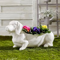 White Wash Sausage Dog Planter White