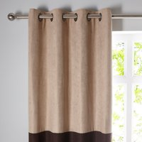 Suede Reversible Chocolate Eyelet Curtains Brown