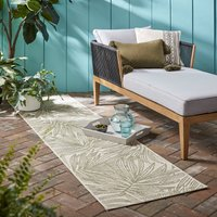 Tropical Leaves Indoor Outdoor Runner Natural (Cream)