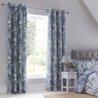 Honesty Navy Blackout Eyelet Curtains Navy Blue and White