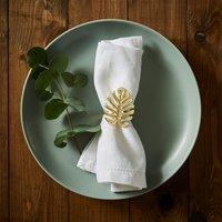 Set of 2 Tropics Leaf Napkin Rings Gold