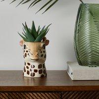 Ceramic Giraffe Head Planter 12cm Brown