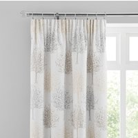 Jacquard Trees Dove Grey Pencil Pleat Curtains Grey and Brown