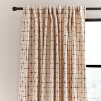 Nomadic Check Unlined Ecru Hidden Tab Top Curtains Ecru (Brown)
