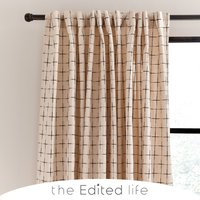 Nomadic Check Unlined Ecru Hidden Tab Top Curtains Cream and Black