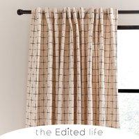Nomadic Check Unlined Ecru Hidden Tab Top Curtains Cream/Black