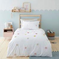 Tufted Spots 100% Cotton Single Duvet Cover and Pillowcase Set MultiColoured