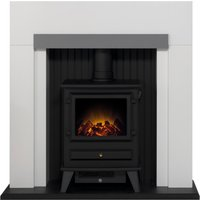 Salzburg Electric Stove with White and Grey Surround Grey
