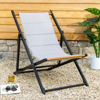 Elements Padded Deck Chair Light Grey