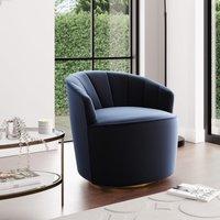 Matilda Eco Velvet Swivel Chair Navy