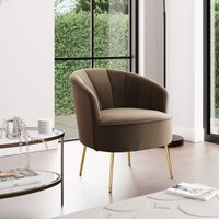 Matilda Eco Velvet Shell Chair Taupe