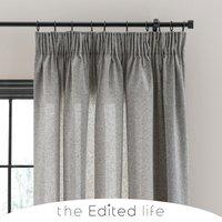 Linen Look Monochrome Tab Top Pencil Pleat Curtains Grey