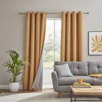 Texture Ochre Reversible Eyelet Curtains Ochre
